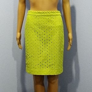 EUC J. Crew Pencil Skirt Neon Yellow Eyelet Green